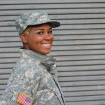 woman in military fatigues